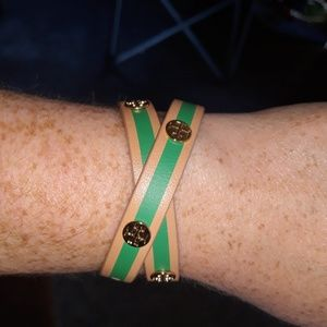 Nwt Tory Burch green and tan bracelet